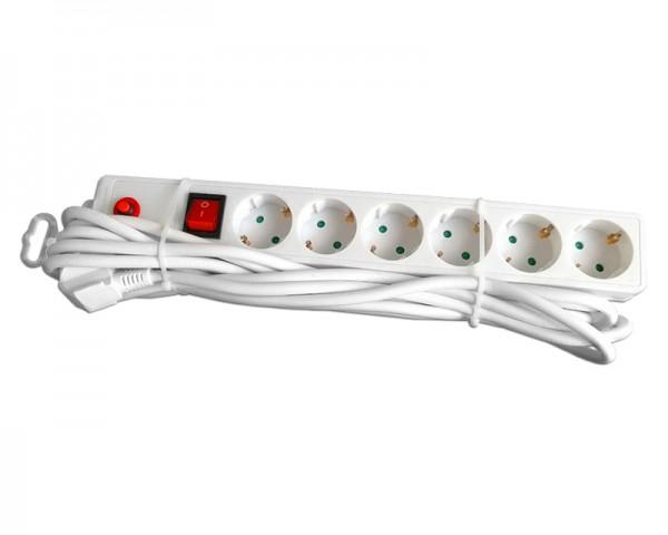E-GREEN Kabl naponski produžni 6 x šuko 5m sa prekidacem i zaštitom (beli)
