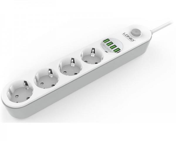 LDNIO Kabl naponski produžni 4 x šuko + 4 x USB 2m beli SE4432