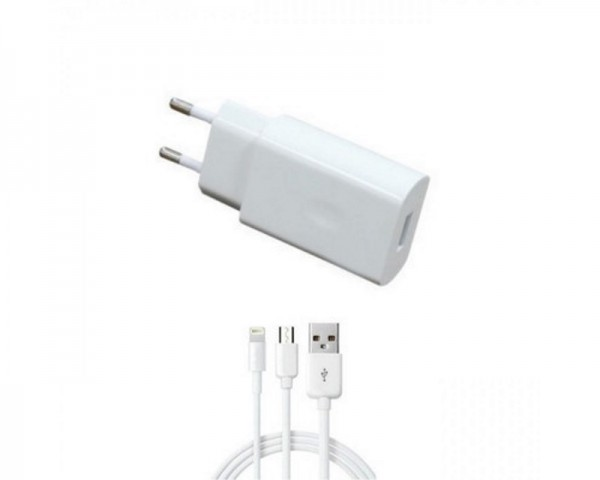 ANSEC Punjač 5V2A Fast micro USB + Iphone 1.2m beli