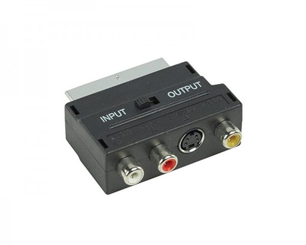 E-GREEN Adapter Scart - 3xRCA + S-Video crni
