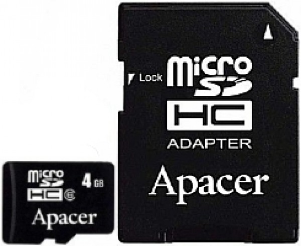 APACER MicroSDHC 8GB class 4 + adapter AP8GMCSH4-R