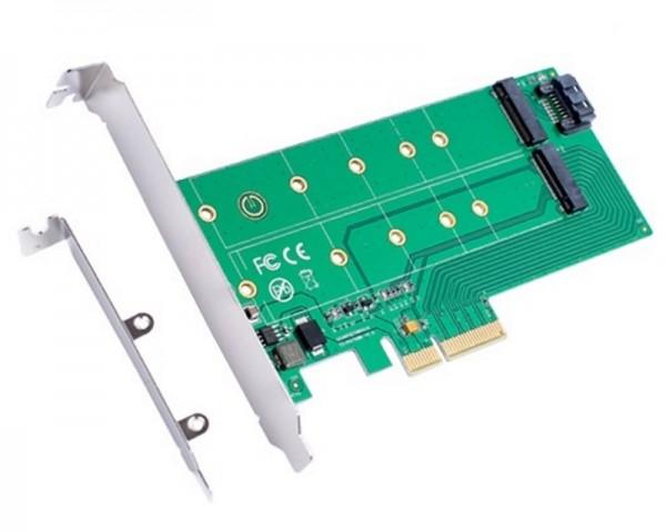 E-GREEN PCI Express x 4 na PCI Express M.2 (NGFFSSD)+M.2 (SATA) Adapter