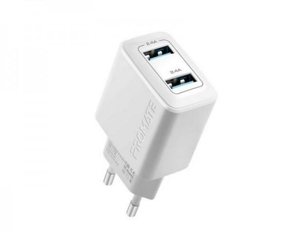 PROMATE BIPLUG 12W zidni punjac 2 USB port beli