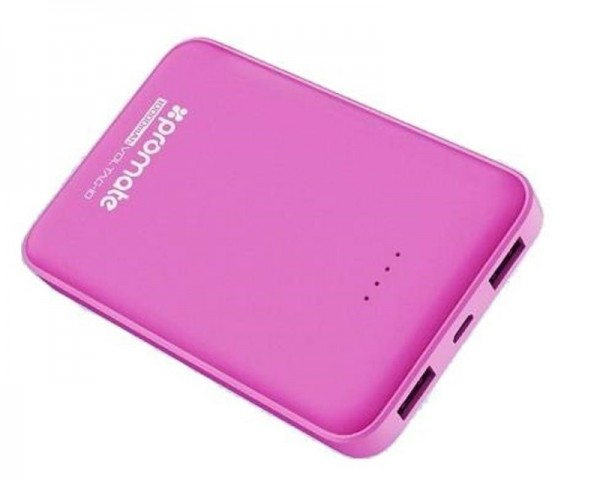 PROMATE VolTag-10 Power Bank 10000mA dual USB port pink