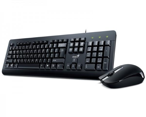 GENIUS KM-160 USB YU crna tastatura+ USB crni miš