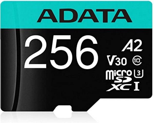 A-DATA UHS-I U3 MicroSDXC 256GB V30S class 10 + adapter AUSDX256GUI3V30SHA2-RA1