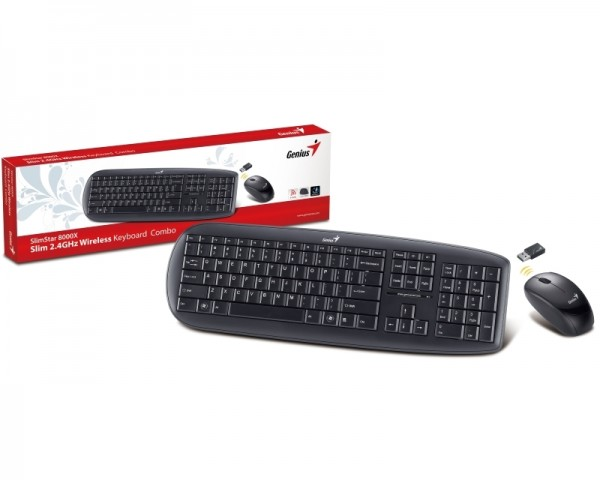 GENIUS KB-8000X Wireless Multimedia USB YU crna tastatura + Wireless miš