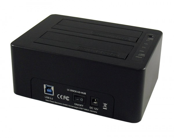 HDD D. Station dual bay LC-DOCK-U3-HUB 2xSSDHDD, Black ,3x USB3.0 HUB