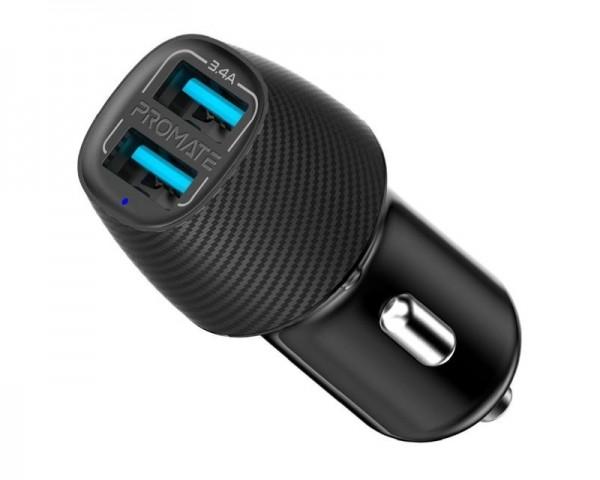 PROMATE VolTrip-DUO 3.4A dual auto punjač crni