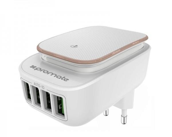 PROMATE Glint4 USB hub punjač sa LED Noćnim svetlom EU
