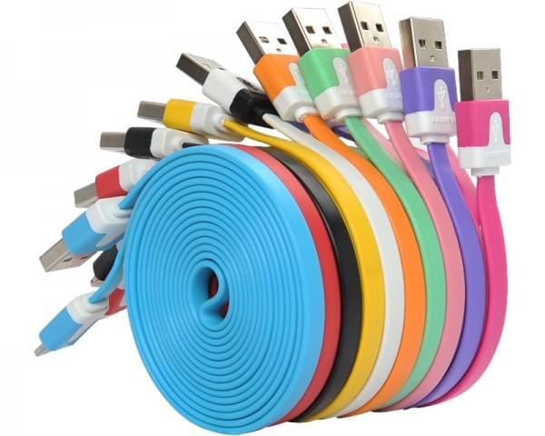 FAST ASIA Kabl USB A - USB Micro-B MM 1m flat pink