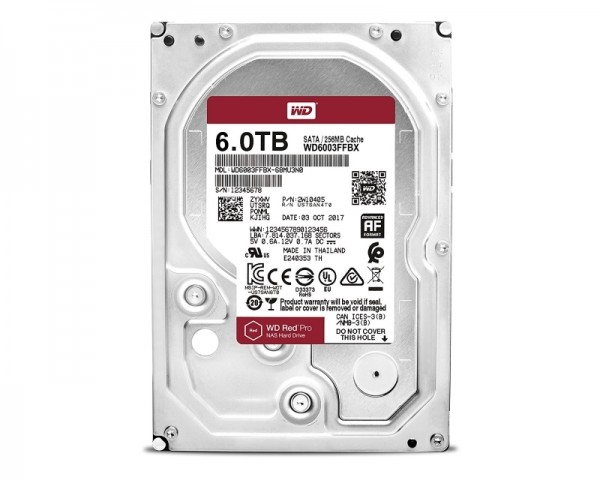 WD 6TB 3.5'' SATA III 256MB 7.200rpm WD6003FFBX Red Pro
