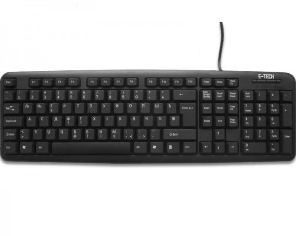 ETECH E-5050 USB YU crna tastatura (CYR)
